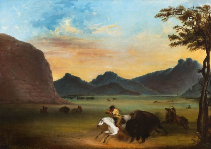 Miller, Alfred Jacob: Buffalo Hunt. Fine Art Print/Poster. Sizes: A4/A3/A2/A1 (003815)